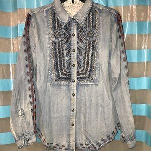 Jean button down long sleeve